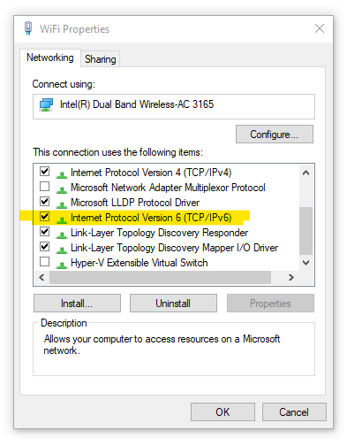 Windows Dialog: WiFi Properties > Internet Protocol Version 6